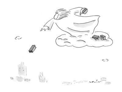 God/Zeus standing on a cloud hurling bricks down on the city. - New Yorker Cartoon