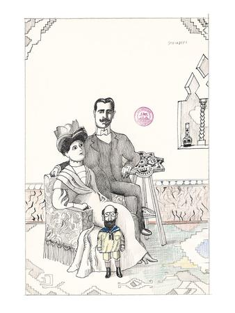 Family portrait with a small bearded man dressed as a child. - New Yorker Cartoon