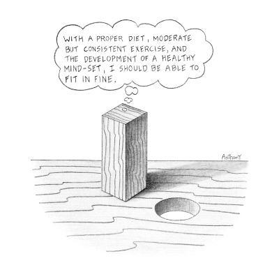 """Square peg looking at round hole thinking """"With a proper diet, moderate bu… - New Yorker Cartoon"""