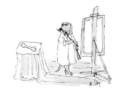 Dog in painter's frock painting a bone. - New Yorker Cartoon