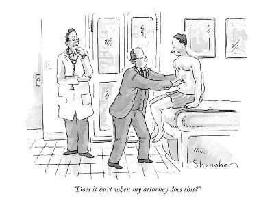 """Does it hurt when my attorney does this?"" - New Yorker Cartoon"
