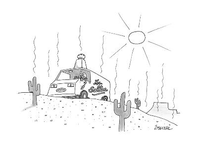 "A ""Mr. Saltee"" truck is parked in the desert, with a large salt shaker on … - New Yorker Cartoon"