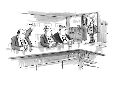 Three men sit at bar drinking beer. On each man's shirt is one letter: 'B.… - New Yorker Cartoon