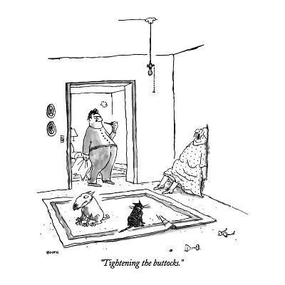 """Tightening the buttocks."" - New Yorker Cartoon"