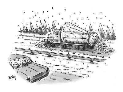 Plow truck salts highway from giant salt shaker on back of truck. - New Yorker Cartoon