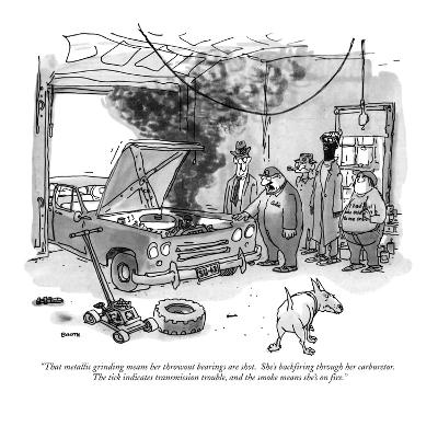 """""""That metallic grinding means her throwout bearings are shot.  She's backf…"""" - New Yorker Cartoon"""