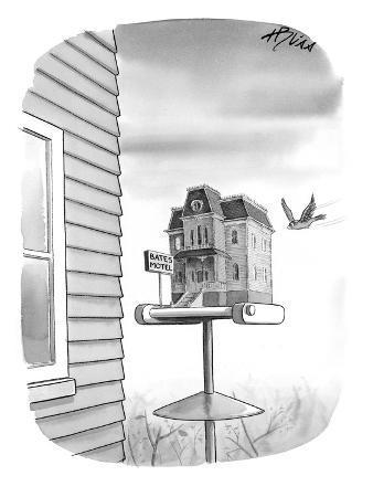Bates Motel Birdhouse - New Yorker Cartoon