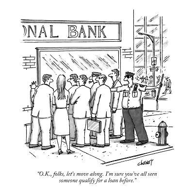 """O.K., folks, let's move along. I'm sure you've all seen someone qualify f…"" - New Yorker Cartoon"