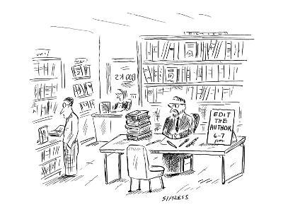 Man, at table in bookstore, with a sign that reads 'Edit The Author 6--7 P… - New Yorker Cartoon