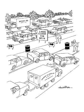 Traffic jam on highway with sign reading, 'Lanes Closed For Spite,' as wor… - New Yorker Cartoon