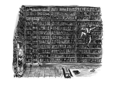 Huge library room, with books from floor to ceiling, is scaled by a woman … - New Yorker Cartoon