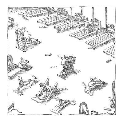 Boy throwing newspapers from a stationary bike in a gym. - New Yorker Cartoon