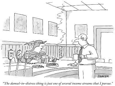 """The damsel-in-distress thing is just one of several income streams that I…"" - New Yorker Cartoon"