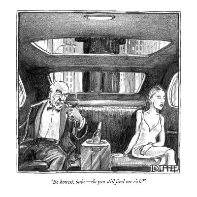 """""""Be honest, babe—do you still find me rich?"""" - New Yorker Cartoon"""