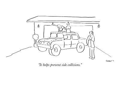 """""""It helps prevent side collisions."""" - New Yorker Cartoon"""