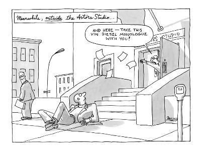 "Man kicked out on the street. ""Meanwhile, outside the Actors Studio . . .""…"" - New Yorker Cartoon"