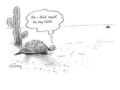 Turtle in the desert sees another in the distance, and thinks to himself, … - New Yorker Cartoon