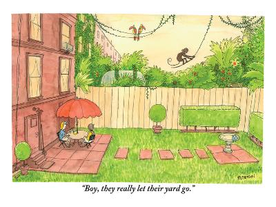 """Boy, they really let their yard go."" - New Yorker Cartoon"