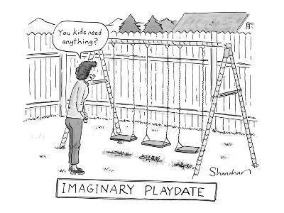 "A woman says: ""You kids need anything?"" to an unoccupied swing-set. - New Yorker Cartoon"