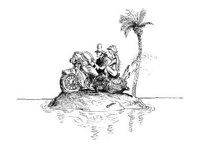 Motorcycle couple on deserted island. - New Yorker Cartoon