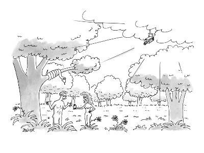 Eve hands apple to Adam as closed-circuit camera watched from the clouds. - New Yorker Cartoon