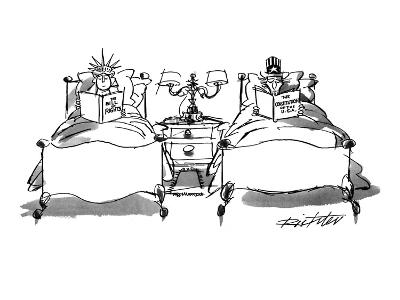 Lady Liberty reading The Bill of Rights while Uncle Sam, in his own bed, r… - New Yorker Cartoon