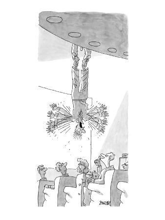 Man being held upside down from balcony furiously waving his arms, as audi… - New Yorker Cartoon