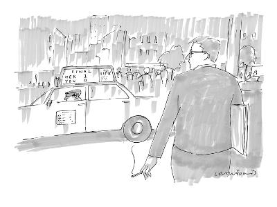 Man looking at sports score on the top of a taxi cab that reads, 'Final He… - New Yorker Cartoon
