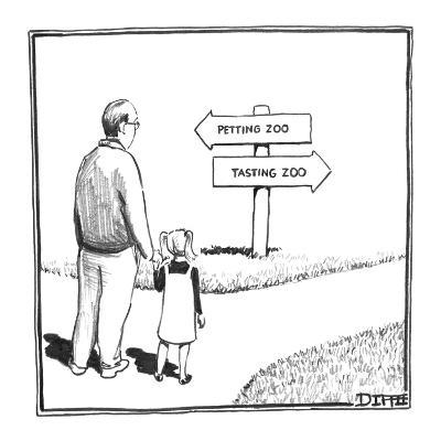Father and Daughter stand at fork in the road with a sign reading,  'Petti… - New Yorker Cartoon