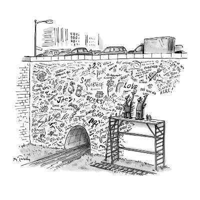 Workmen on scaffolding adding graffiti to a bridge. - New Yorker Cartoon