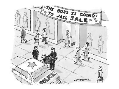 Man being taken into police custody in front of store with banner that rea… - New Yorker Cartoon