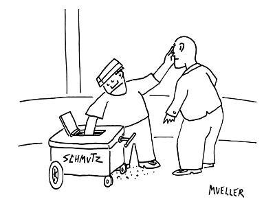 "A street-vendor's cart is labeled ""SHMUTZ"". He reaches in and grabs some w… - New Yorker Cartoon"