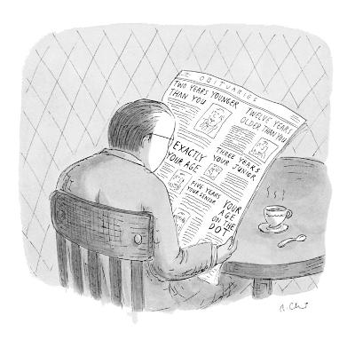 Man reads the obituaries in newspaper; headlines for each death refer, rel… - New Yorker Cartoon