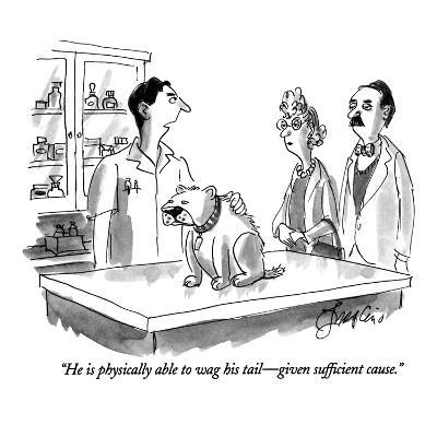 """He is physically able to wag his tail—given sufficient cause."" - New Yorker Cartoon"