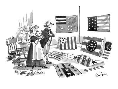 Betsy Ross and George Washington looking over a variety of flag designs. - New Yorker Cartoon