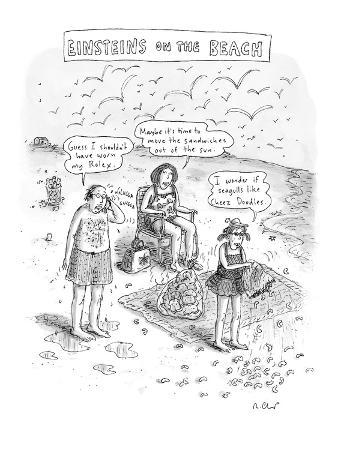"""Einsteins on the Beach"" - New Yorker Cartoon"