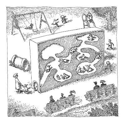 Kids playing in a large child-size ant-farm. - New Yorker Cartoon