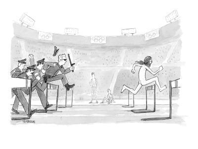 Police chasing naked streaker across Olympic track. - New Yorker Cartoon