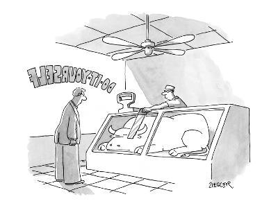 Butcher at the, 'Do-It-Yourself' butcher store hands customer a saw to cut… - New Yorker Cartoon