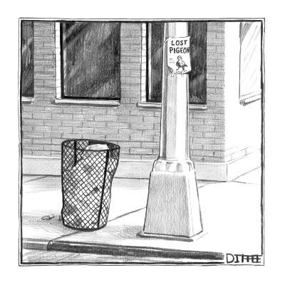 Leaflet for a lost pigeon taped to a light pole. - New Yorker Cartoon