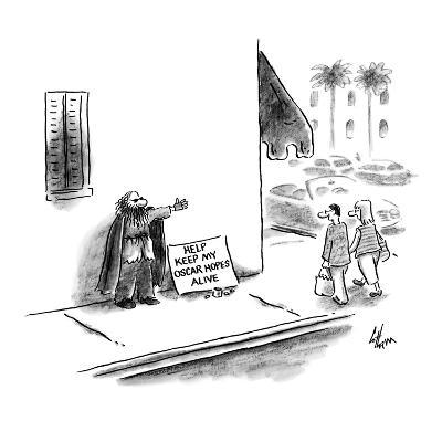 Bum with thespian cape by sign that reads 'Help Keep My Oscar Hopes Alive.… - New Yorker Cartoon