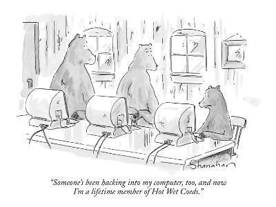 """Someone's been hacking into my computer, too, and now I'm a lifetime memb…"" - New Yorker Cartoon"