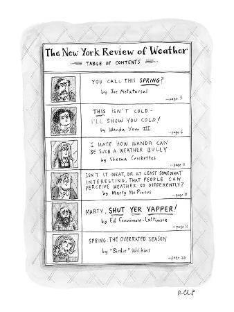 Table of Contents for, 'The New York Review Of Weather.' - New Yorker Cartoon