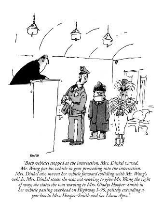 """Both vehicles stopped at the intersection. Mrs. Dinkel waved. Mr. Wang pu…"" - New Yorker Cartoon"