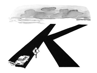 Car comes to a road sign that has its intersection symbol shaped like a 'K… - New Yorker Cartoon