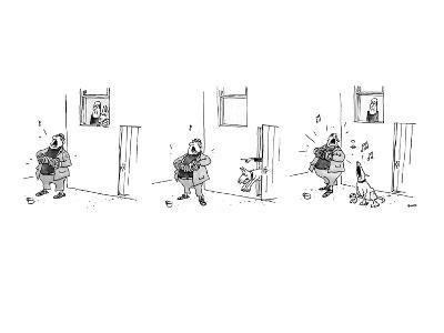 3 drawings. A man plays a accordion beneath a window.  The man in window l… - New Yorker Cartoon