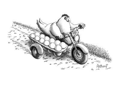 Chickhen on motercycle with eggs in dozen carton side car. - New Yorker Cartoon