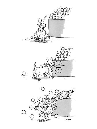 3 drawings of a dog. He is hit by an orange from a market display, barks a… - New Yorker Cartoon