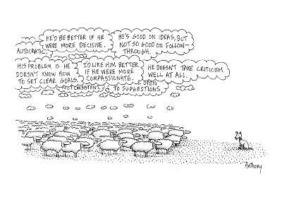 "A flock of sheep stands looking toward a dog who is evidently herding them…"" - New Yorker Cartoon"