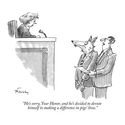 """""""He's sorry, Your Honor, and he's decided to devote himself to making a di…"""" - New Yorker Cartoon"""